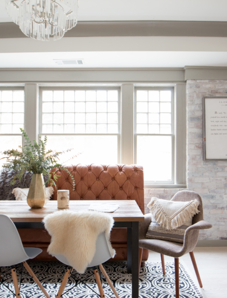Our Whitewashed Brick Wall Basement Dining & Entertaining Space...