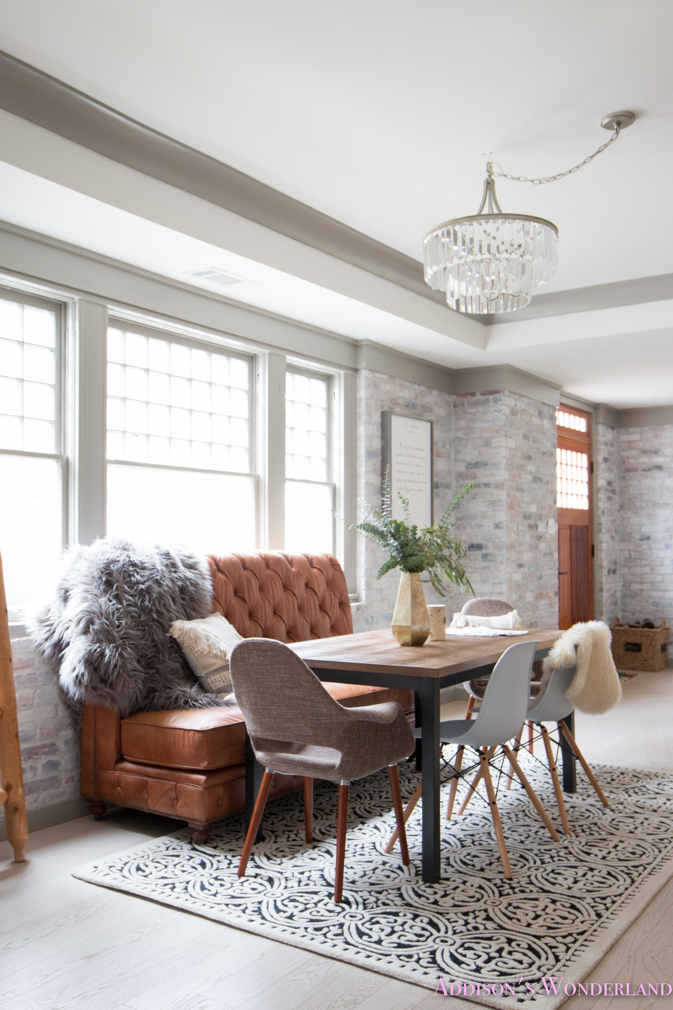 Our Whitewashed Brick Wall Basement Dining Entertaining Space