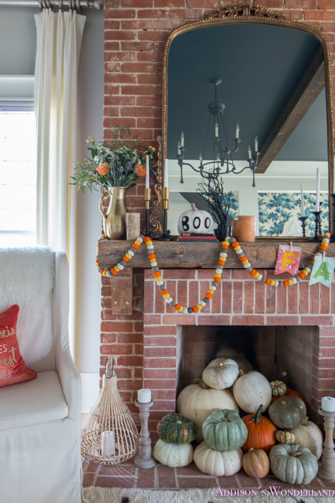 Gray Living Room With Fireplace: Our Fall & Halloween Living Room Decor W/ Mantle Ideas
