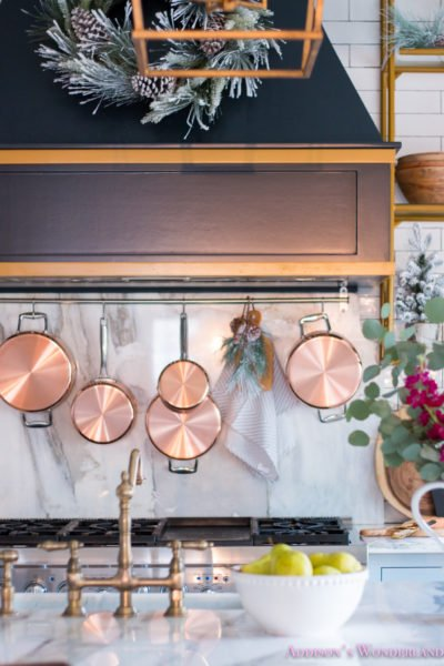 Our Christmas Kitchen with A New Copper Pot Rack Behind the Stove!
