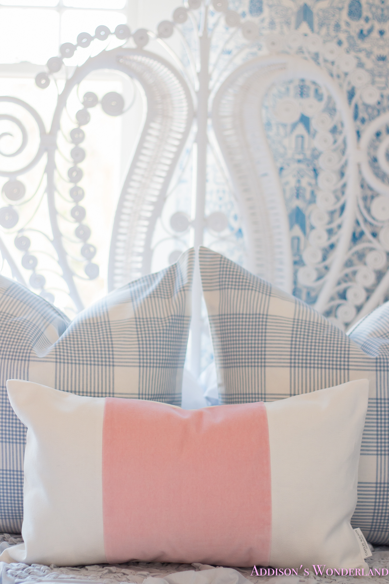 Our New Caitlin Wilson Pillows + Update on Winter's Blue & White Bedroom