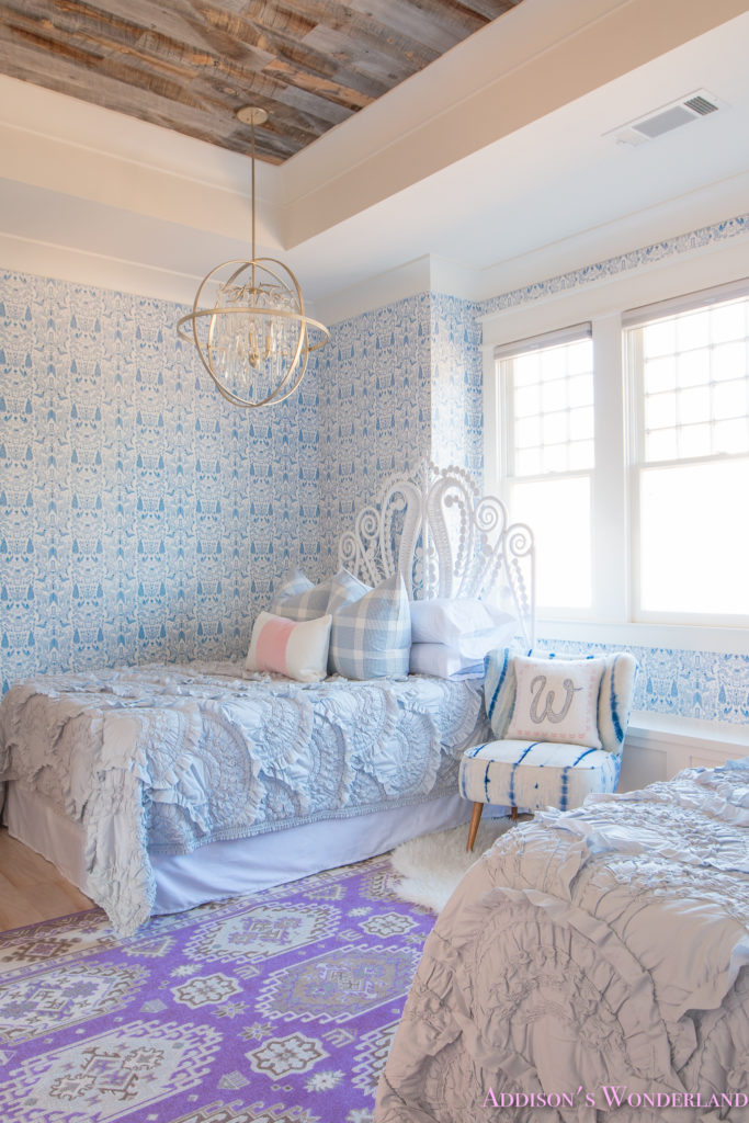 Our new caitlin wilson pillows update on winter 39 s blue for Blue and white bedroom wallpaper