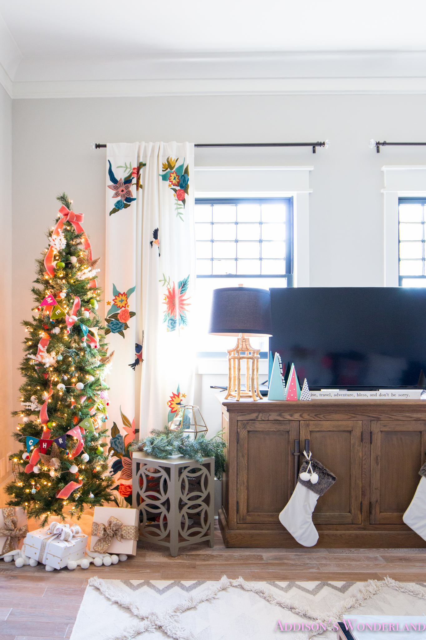Our Colorful Christmas Holiday Ready Family Room Reveal! - Addison\'s ...