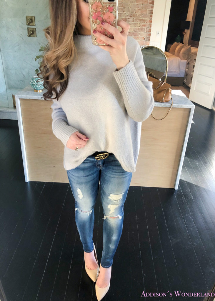 0a952c0d2c I can tell you right now that this Light Grey Mock Neck Sweater is waaaay  cuter and nicer in person! I was super duper impressed with the fabric and  the ...