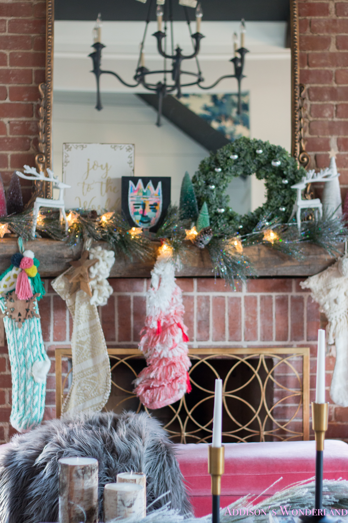 Our Whimsical & Colorful Christmas Holiday Living Room!
