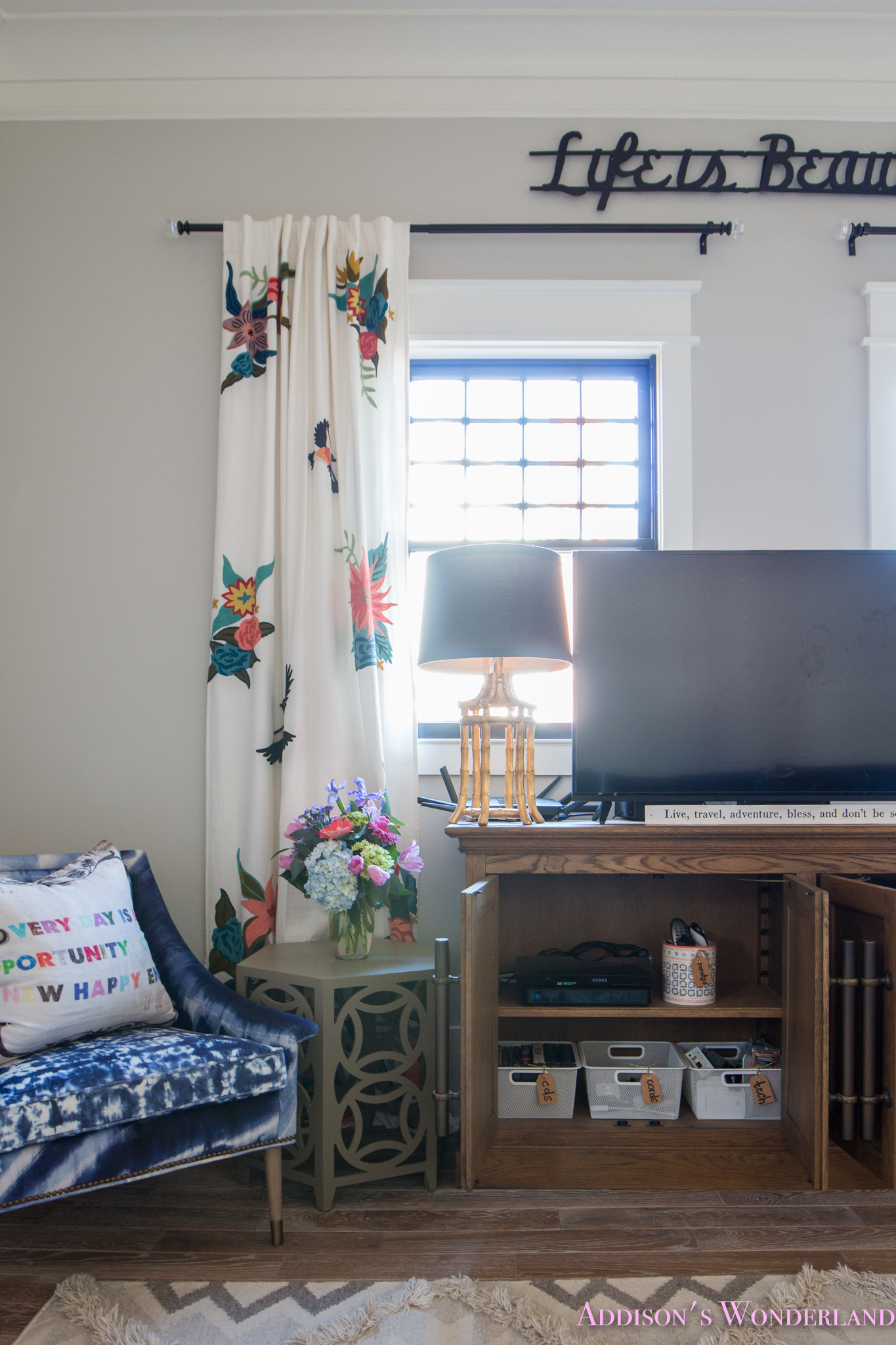 Our Cozy & Colorful Family Room TV Cabinet Organization!