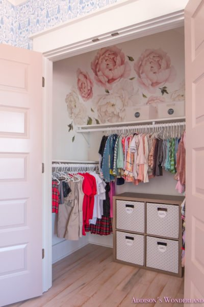 Winter's Little Girl's Closet Organization Makeover with Peony Wall Decals!