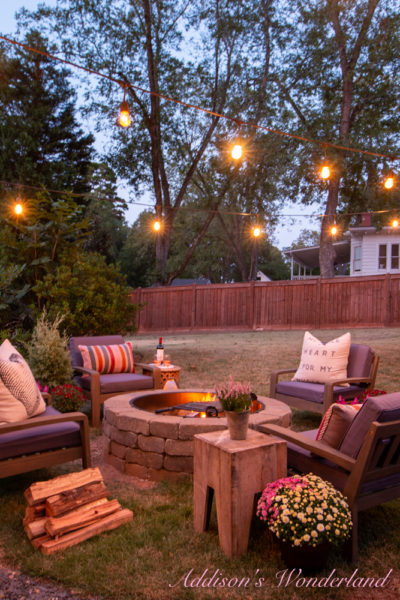 My Dreamy New Outdoor Backyard Fire Pit… All Decked Out for Fall!